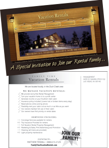 Direct Mail Postcard Design Family Time Vacation Rentals