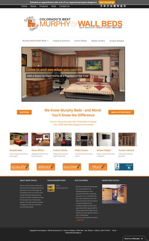 Murphy Bed Store Website Design, SmartSpaces.com, Denver Website Designer