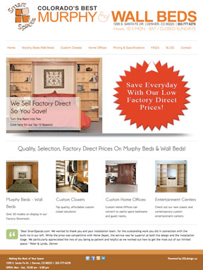 Smart Spaces Murphy Wall & Bed Store Website Redesign