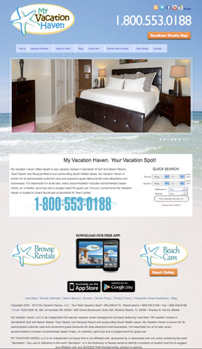 My Vacation Haven Vacation Rentals Website Redesign
