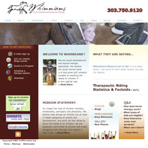 Whinnians Non-Profit Horse Therapy Program Website Design